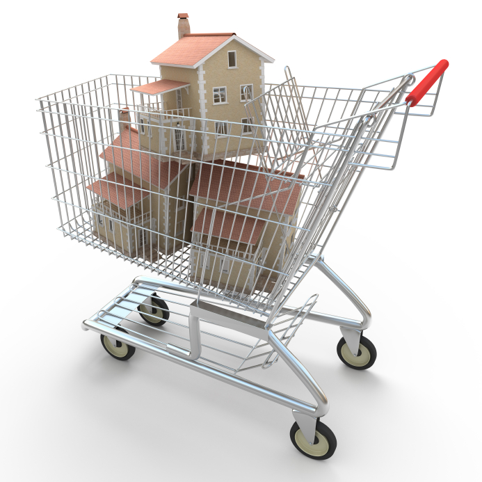 Houses in shopping cart