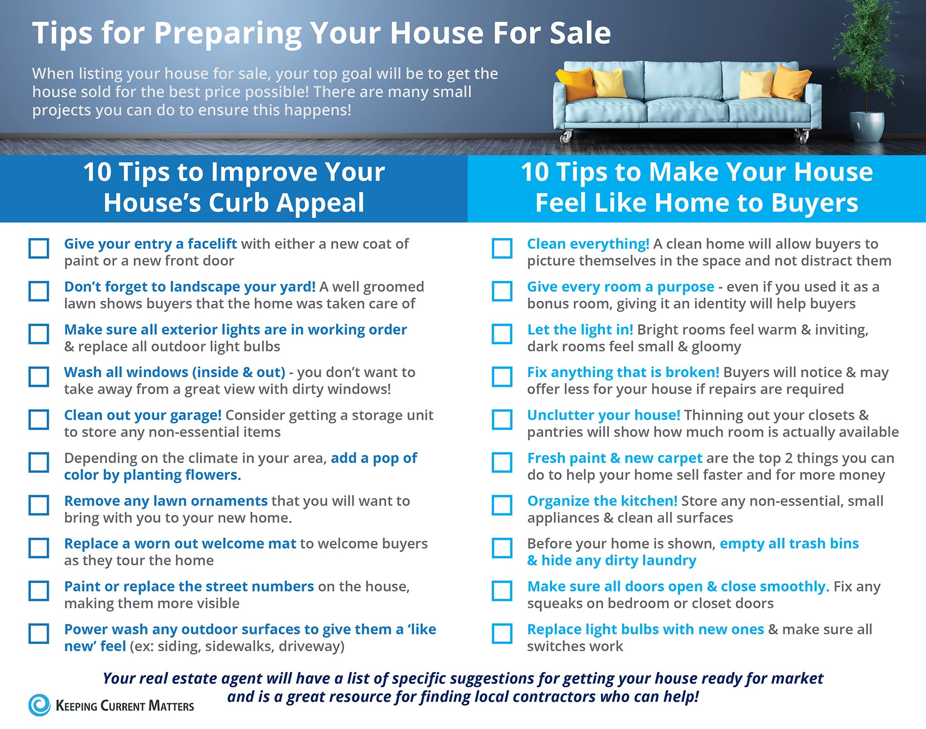 Tips for Preparing Your House For Sale [INFOGRAPHIC] | Keeping Current Matters