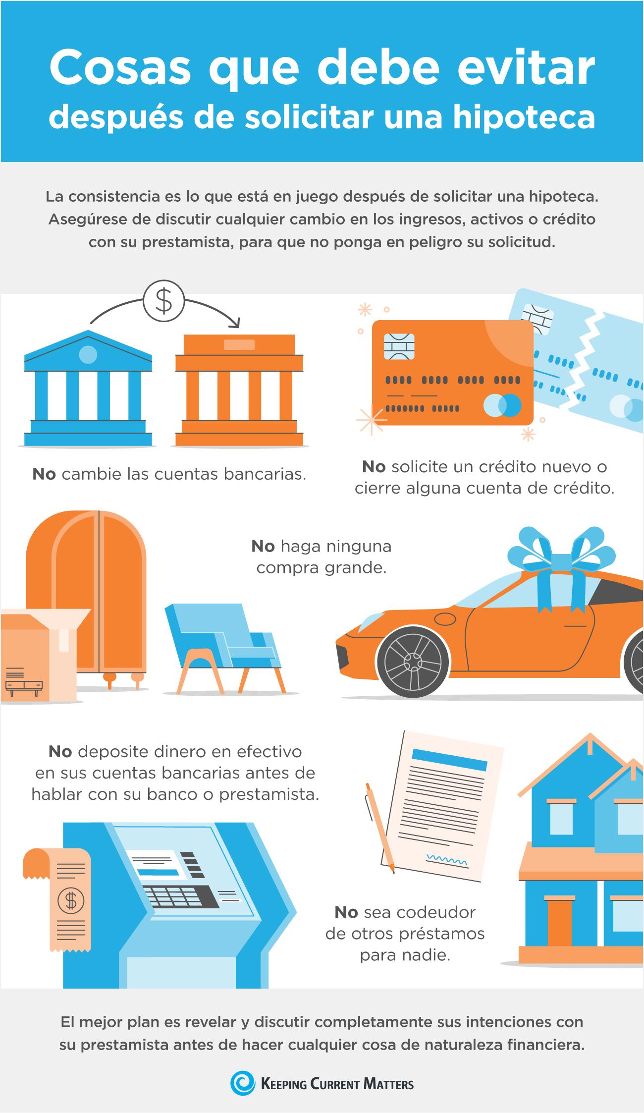 Cosas que debe evitar después de solicitar una hipoteca [infografía]   Keeping Current Matters